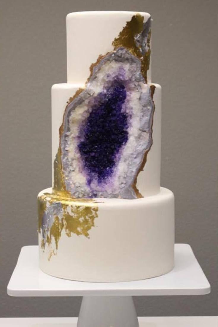 This Amethyst Geode Wedding Cake Really Rocks