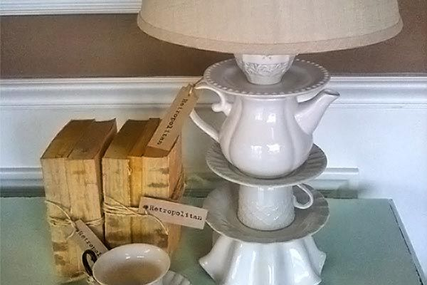 Old tea cups and saucers + lampshade get new life