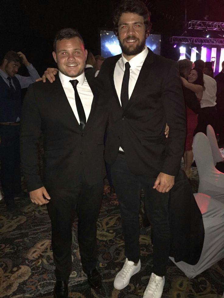 Dylan Smith with Captain Warren Whiteley at the Lions Group's Awards Night.   #LeyaTheLion #Liontainment #BeThere #MyLionsMoment #LionsAwards2017