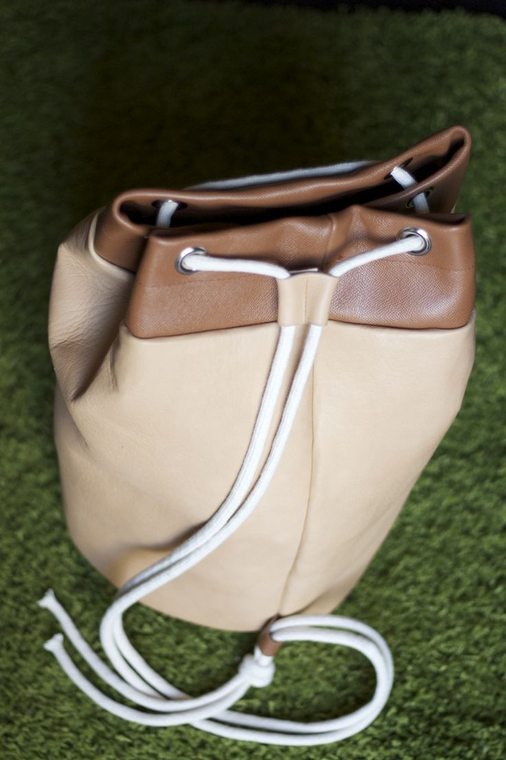 "SPECTRUM beige backpack / sack with light brown details  genuine italian leather 100% handmade  dimensions: H 19,7"" BOTTOM DIAMETER 11,8""   contact.spectrumbags@gmail.com www.facebook.com/spectrumbags"
