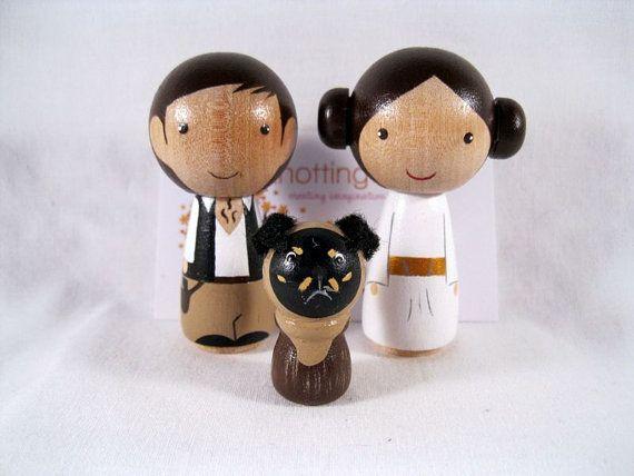 Kokeshi Princess Leia Han Solo Ewok Dog Peg Doll collectable