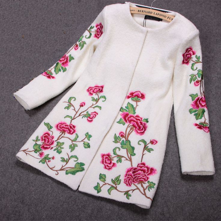 Embroidered Wool Coat Jacket in White