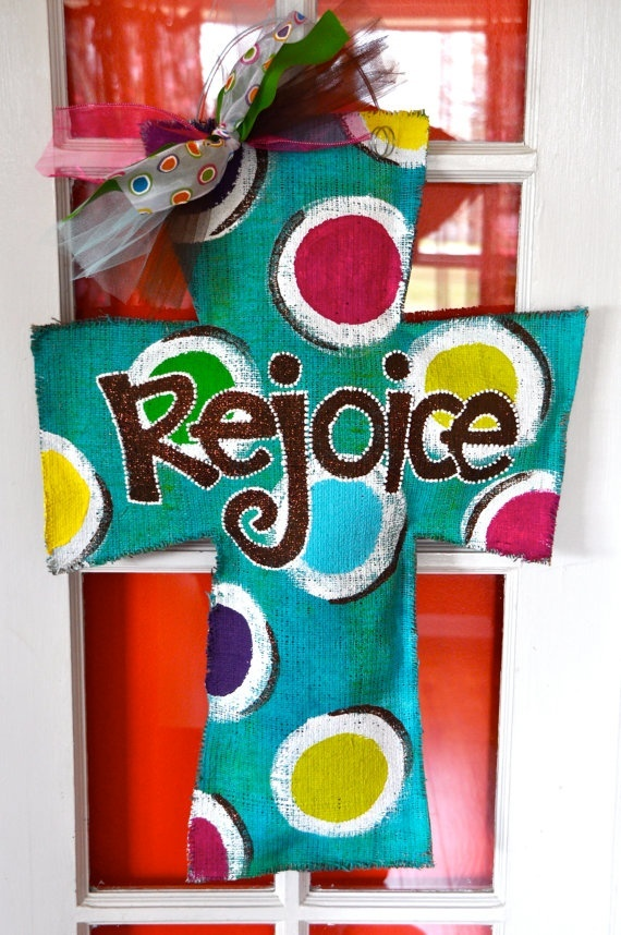 Painted Burlap Cross Door Hanger - Cute to hang on door for Easter and spring!!