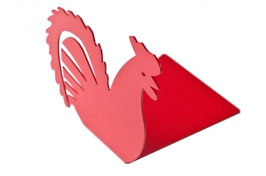 ludowe-podpórka do książek - czerwony kogut