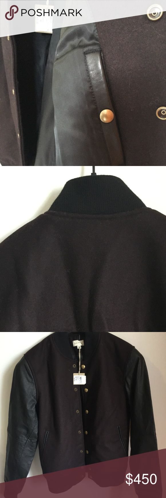 XS Club Monaco Bordeaux Bomber w/Leather Sleeve Perfect early spring/late fall jacket from Club Monaco. Ribbed bottom so it sits on your waist.  Deep Merlot color with black sleeves. Brand new off the rack. Original price $650. Deeply discounted. Club Monaco Jackets & Coats