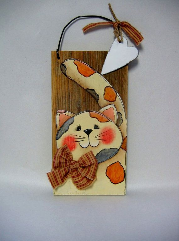 Calico Kitty Tole Painted Barn Wood Rustic by barbsheartstrokes,