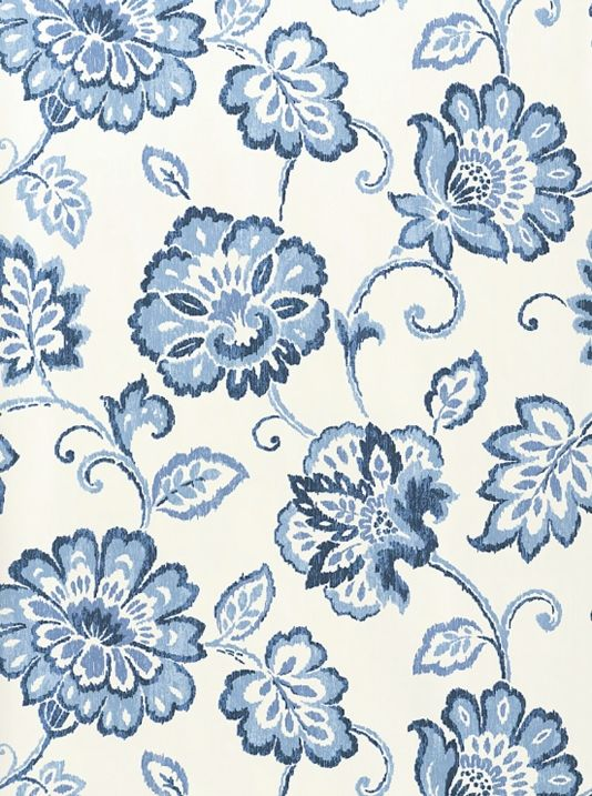 Alexa Floral Wallpaper White wallpaper with floral Ikat