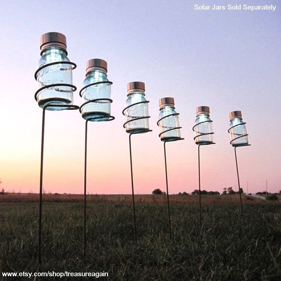 Garden Stake Mason Jar Outdoor Candle Holders, Solar Light