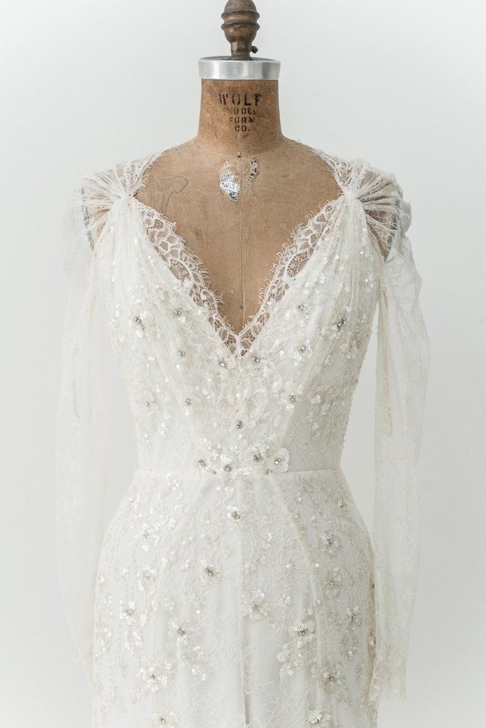 RENTAL Silk Lace Long Sleeves Gown - S