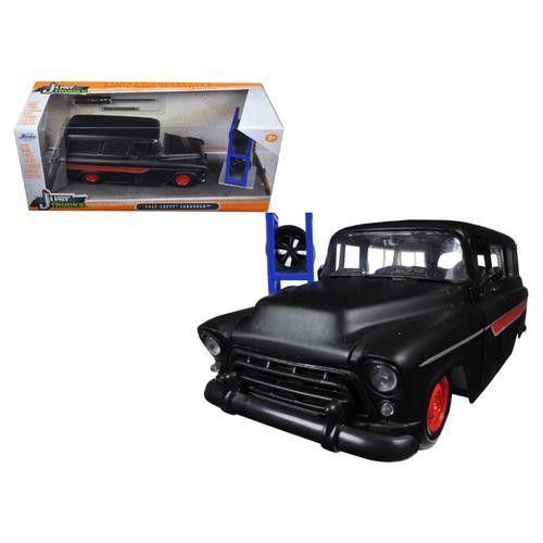 "1957 Chevrolet Suburban Matt Black / Red ""Just Trucks"" with Extra Wheels 1/24 Diecast Model Car by Jada"
