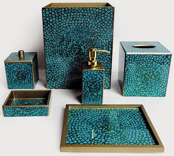 Teal tile this mosaic turquoise bath set priced by the for Teal bathroom accessories sets