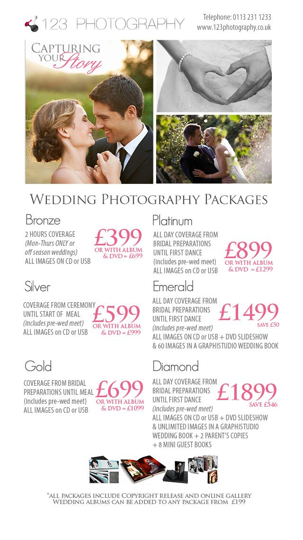 Wedding photography Prices Leeds, West Yorkshire. Wedding