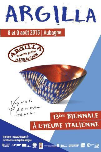 2015 Argilla.Aubagne. France. International pottery fair. Tableware. Deco. Art. Jewels. Earthenware. Stoneware. Raku. Porcelain. Sigillated clay. Smoked clay. Poster of the pottery fair