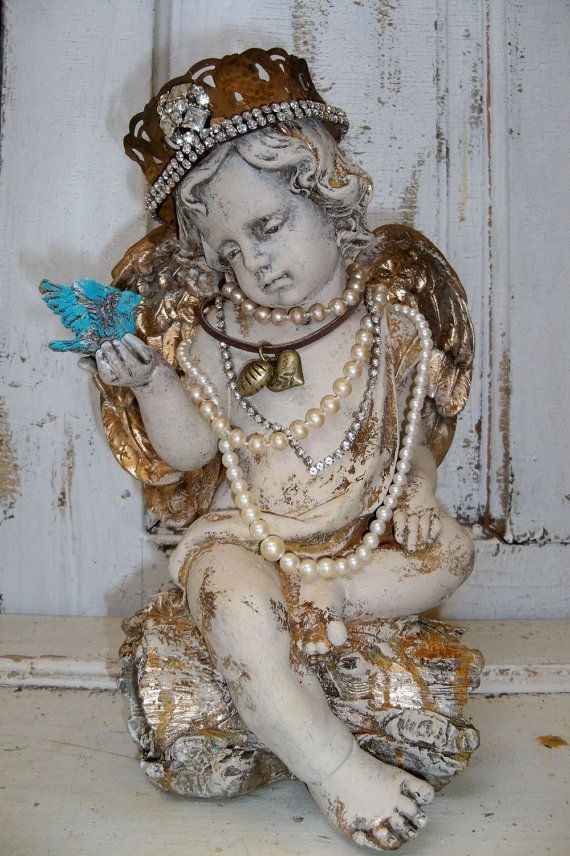 Cherub statue with crown angel sculpture with by AnitaSperoDesign, $230.00