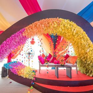 colourful decor - marquee - flowers - hanging decor