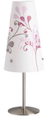 #Mädchen #Nachttischlampe #Isi, #weiß mit #Blumen Diese Nachttischlampe überzeugt durch ihr zartes Design und den verspielten Blumenornamenten. Die dezenten Farben des Schirms lassen sich perfekt in das Bild des Kinderzimmers integrieren und ermöglichen es, farbliche Akzente zu setzen, ohne zu sehr in den Mittelpunkt zu treten. Der Fuß der Lampe ist aus Metall gearbeitet und seine silbergraue Farbe findet sich auch in den Ornamenten auf dem Lampenschirm wieder. Details: - Material: Metall…