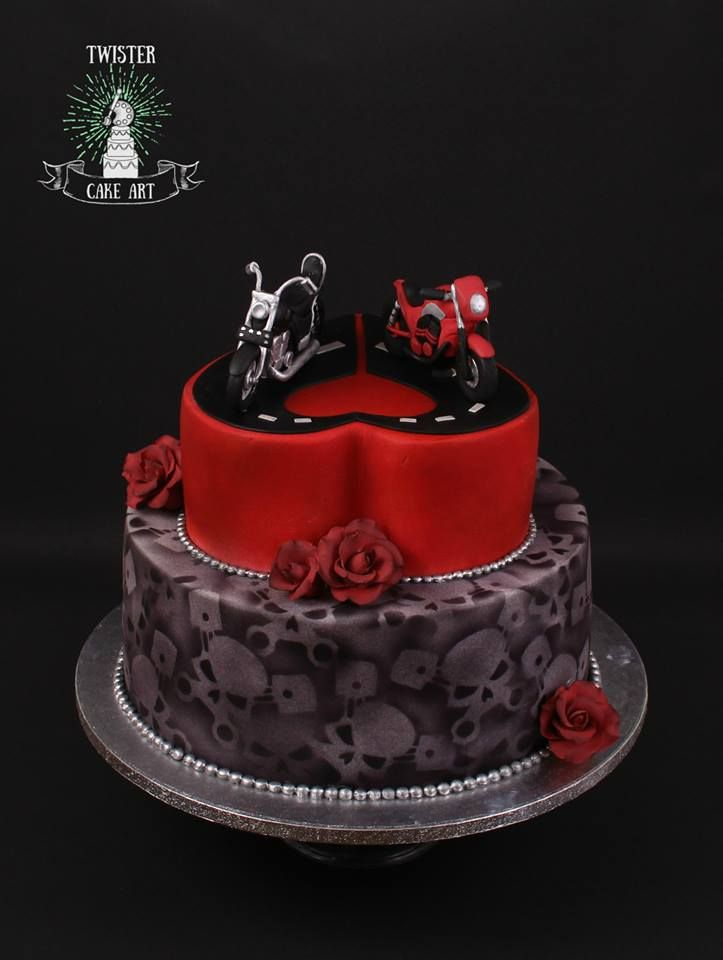 Moottoripyörä kakku, biker wedding cake