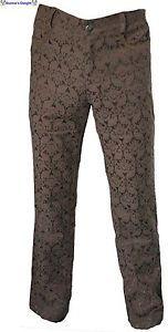 Nuevo-marron-Steampunk-gotico-victoriano-de-brocado-pentagramme-Regencia-Pantalones-Pantalones