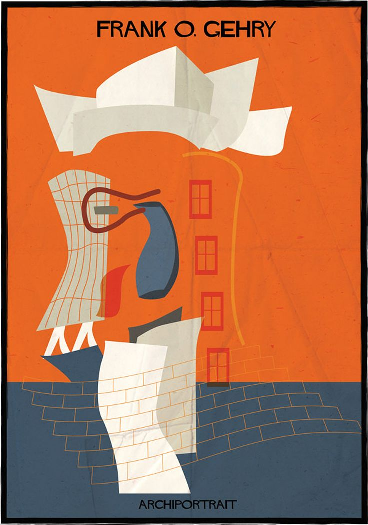 federico babina illustrates renowned architects in their own style // frank gehry's famous venues, like the guggenheim museum bilbao, shape his hair