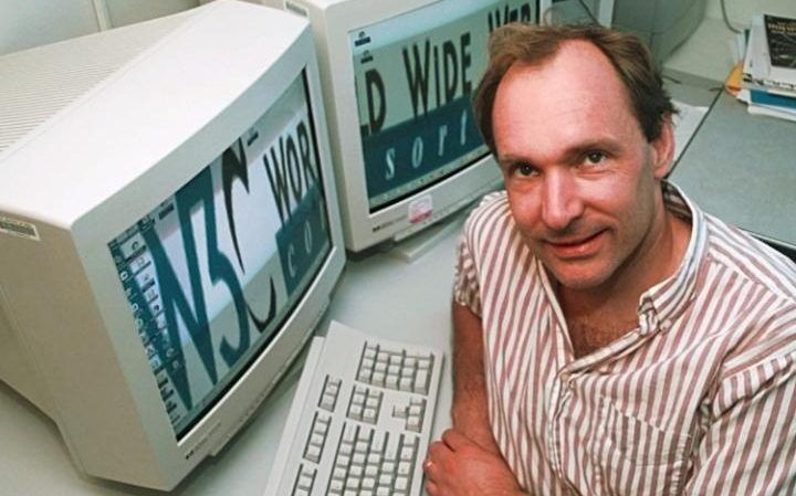 Sir Time Berners-Lee at the World Wide Web Consortium -  Today marks the 25 anniversary of Sir Tim Berners-Lee launching the first website  Credit: AP      Cara McGoogan   6 August 2016 • 7:02am  On this day 25 years ago the world's first website went live to the public. The site, created by Sir Tim Berners-Lee, was a basic text page with hyperlinked words that connected to other pages.