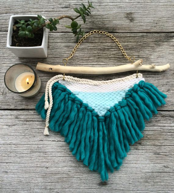 AQUA Textile wall-hanging on driftwood and gold