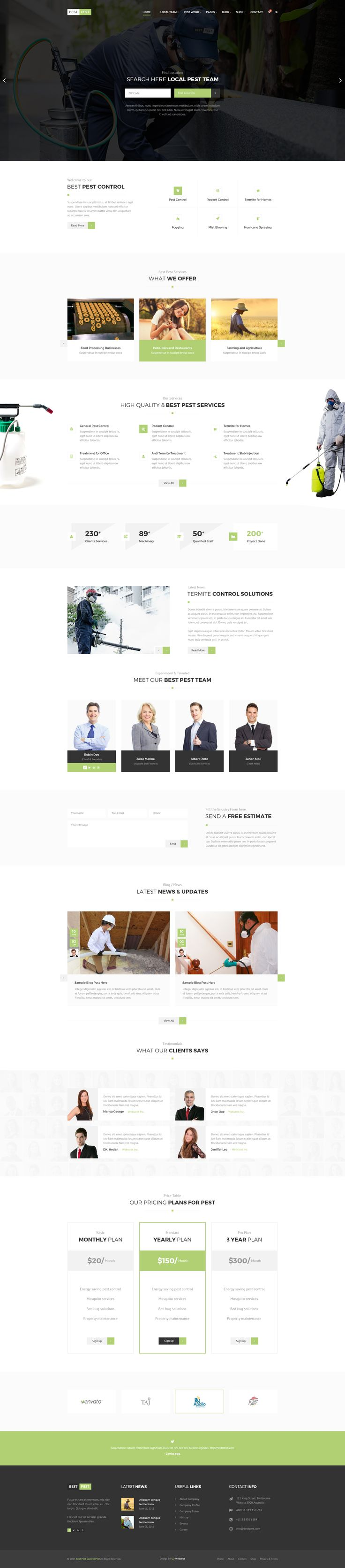 Best Pest | Professional Local Pest Control Multipurpose PSD Template • Download…