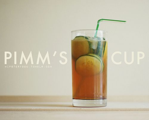 There are many, many variations of the Pimm's cup, this one's just a favorite in our house. It's sour and a little sweet and the cucumber makes it refreshing on even the hottest days.  Pour 2 oz. of Pimm's over a glass full of ice.  Add a splash of ginger liqueur. (If you don't have the liqueur try experimenting with fresh ginger or ginger ale! We've found 1 part ginger ale to 3 parts carbonated water tasted pretty great.)  Add 1 tsp-1 tbsp agave nectar. (You can add more at the end t