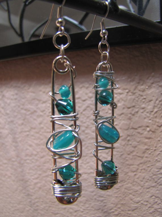 Safety Pin Wire Wrapped Earrings