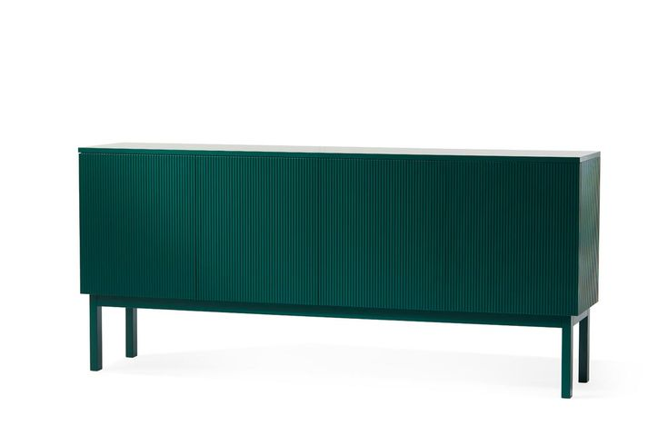 a modern, emerald green storage cabinet