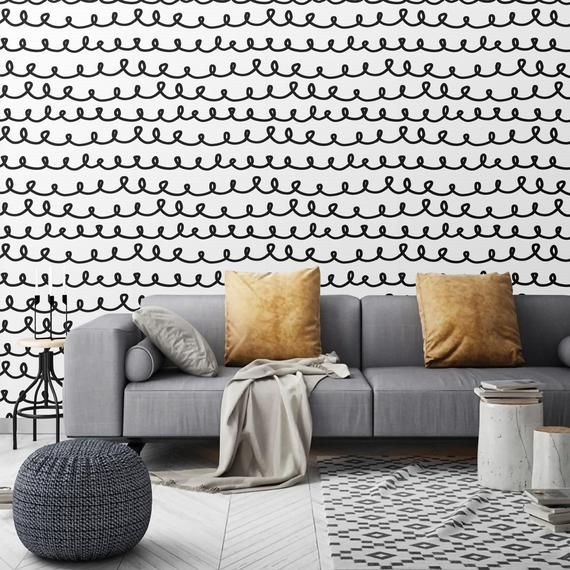 Wallpaper Minimalistic Modern Black And White Peel And Stick Temporary Wallpaper Removable Wa In 2021 Removable Wall Murals Black And White Wallpaper Accent Wall Paint