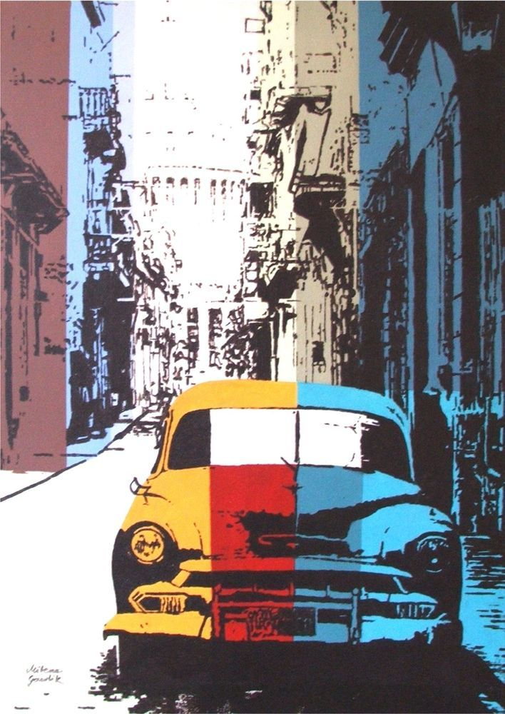 OLD CAR STREET ARCHITECTURE CUBA POP ART ACRYLIC ORIGINAL PAINTING ON CANVAS  #PopArt