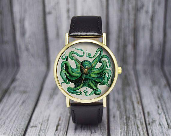 Vintage Octopus Watch   Leather Watch   Ladies Watch   Men's Watch   Gift for Her   Birthday   Wedding   Gift Ideas   Fashion Accessories