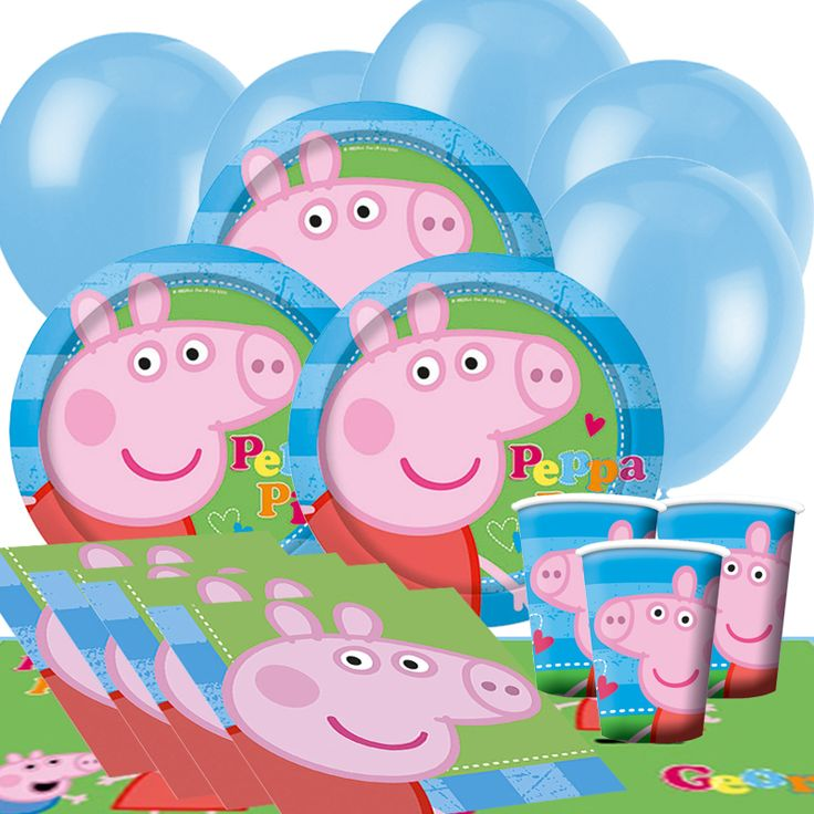 Peppa Pig Birthday Party Supplies with the world famous Peppa Pig and George character from the Peppa Pig cartoon franchise. Part of our fantastic licensed children's party supplies range. These colourful and graphic Birthday Party Plates, Party Cups, Party Napkins, Party Tablecover and Party Balloons are ideal for your children's birthday party celebration.