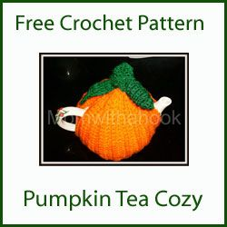 crochet pumpkin tea cozy - simple half double crochets, sew up sides and a curly cue and leaves. If you don't want a tea cozy make it into a hat. #crafts