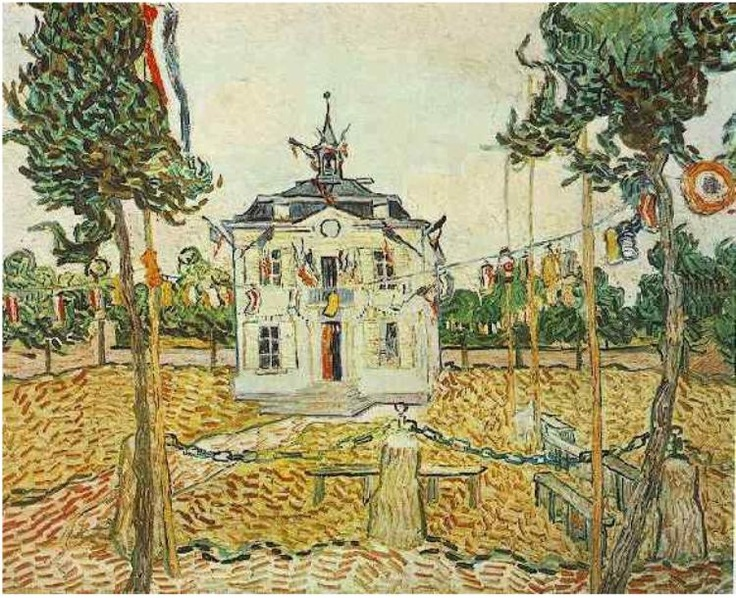 Painting, Oil on Canvas Auvers-sur-Oise, France: July, 1890 Collection of Mr. and Mrs. Legih B. Block Auvers Town Hall on 14 July 1890 Chicago, Illinois, United States of America, North America F: 790, JH: 2108
