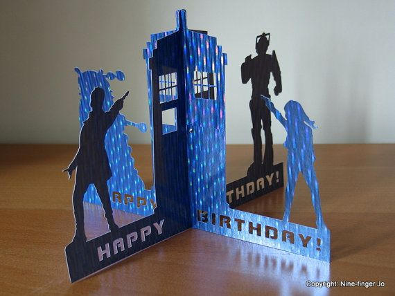 Dr Who 3D Birthday Card, A5 | Dr Who Birthday Greeting Card | Dr Who Birthday Papercut Card | Dr Who, Dalek, Cyberman, Tardis Papercutting on Etsy, $4.81