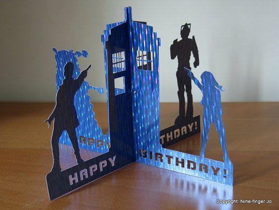 3D Papercut Card, A5 | Dr Who Birthday Papercutting Greeting Card | Dr Who Birthday Paper Cut Card | Dr Who, Dalek, Cyberman, Tardis Pop Up