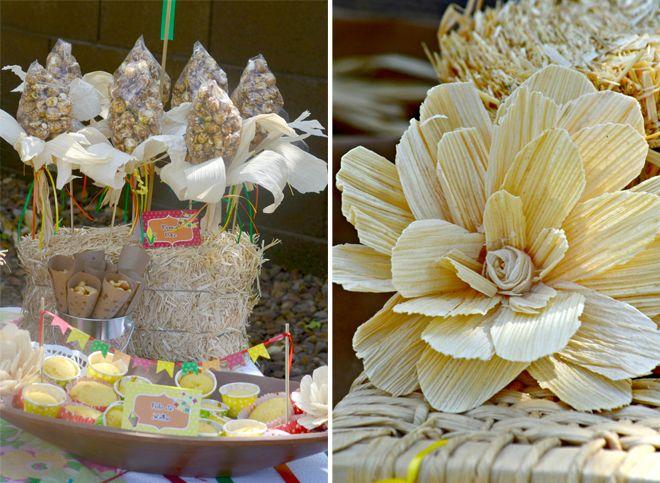 festa junina party ideas  - cute flowers from corn husks
