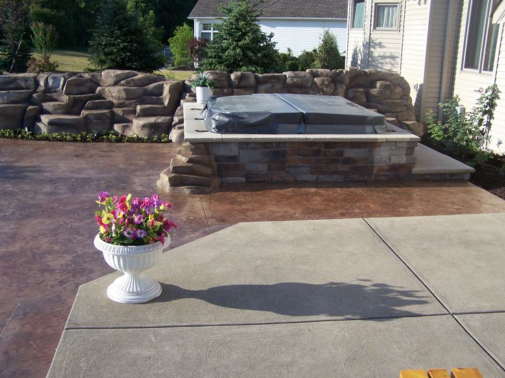 Stamped concrete patio hot tub Stamped Concrete Photos