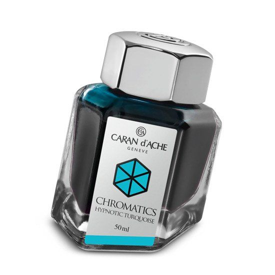 Caran d'Ache Chromatics bottled fountain pen ink in Hypnotic Turquoise. Many colours available. Unusual bottle shape. £27.50 each with free UK delivery. We also ship worldwide.
