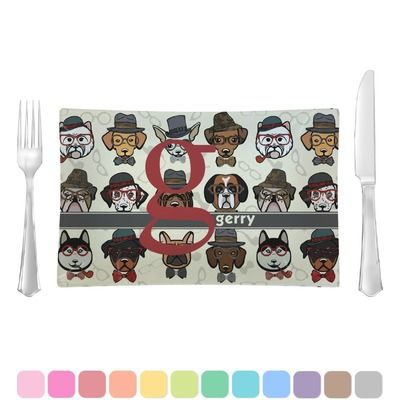 Hipster Dogs Rectangular Dinner Plate (Personalized)