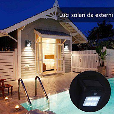 Luci LED solari per esterni, 8 luminoso sensore di movimento luci di sicurezza impermeabile del LED per il giardino esterno da patio ponte cortile strada privata Scale Luci (2): Amazon.it: Illuminazione