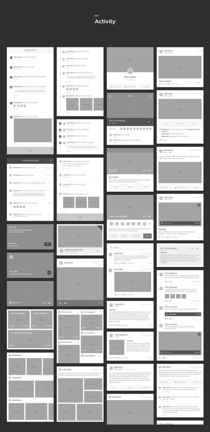A consistent and meticulously organized set of vector-based wireframe components to quickly bring your iOS and Android app ideas to life. Think of it as your wireframing workflow, on steroids.. If you like UX, design, or design thinking, check out theuxblog.com