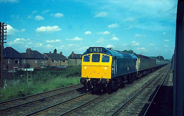 Class 25/2 No.7536 piloting a London express south of Leicester in June 1972