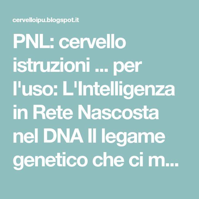 PNL: cervello istruzioni ... per l'uso: L'Intelligenza in Rete Nascosta nel DNA Il legame genetico che ci mette in comunicazione con tutto l'Universo