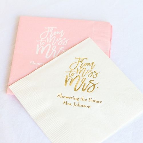"Personalized ""From Miss To Mrs."" Bridal Napkins"