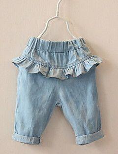 Pantalones Chica de-Casual/Diario-Un Color-Algodón-Verano-Azul