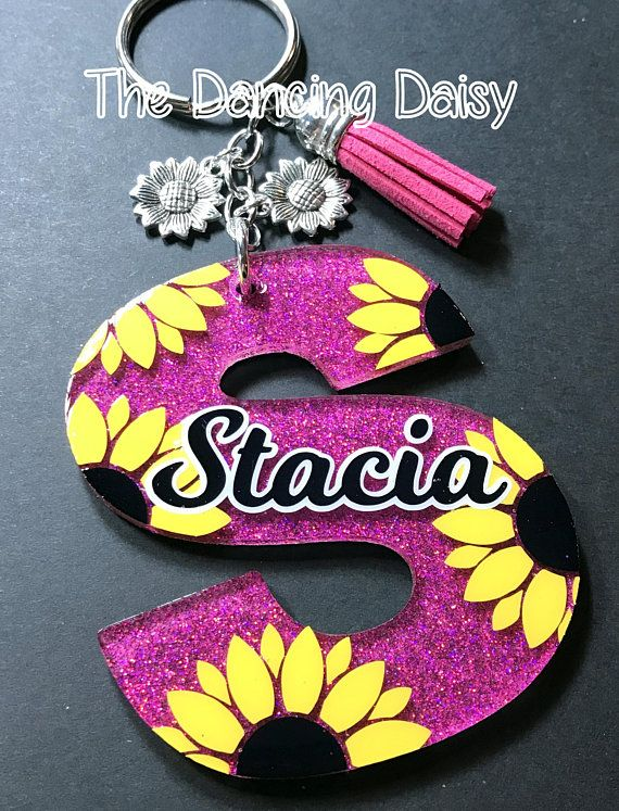 Sunflower Initials and letters Keychain Custom acrylic