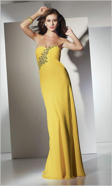 Wedding Guest Dresses Yellow Wedding Dress For Empire Waist A Line Sweetheart Sweep Train Yellow Chiffon - Dress Inspiration for Women