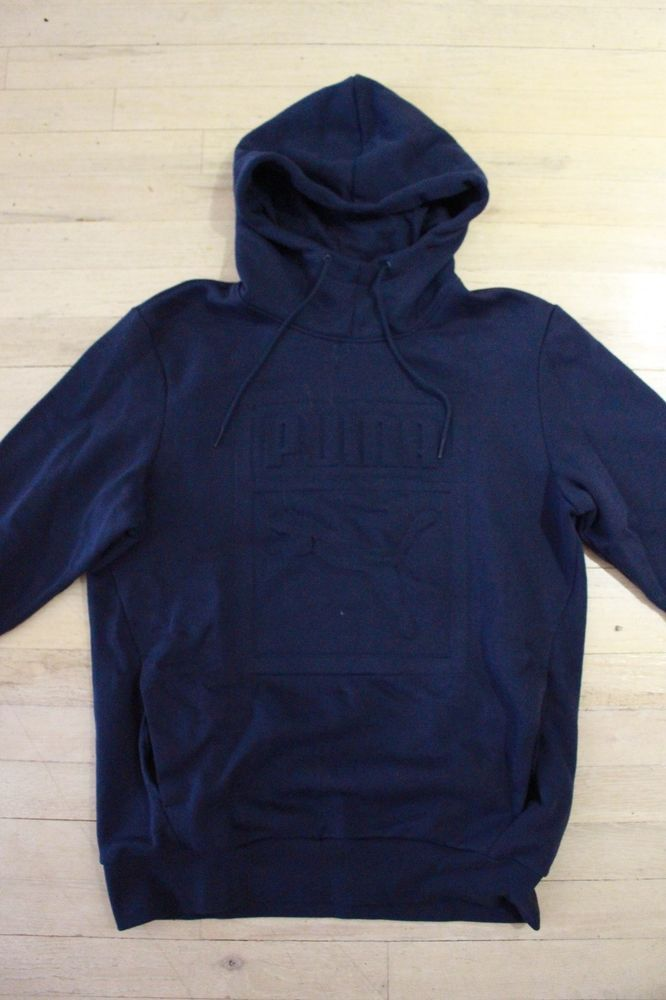 6a3a3473a144 Navy Blue Cowl Neck Men s Puma Logo Hoodie Size Medium  fashion  clothing   shoes  accessories  mensclothing  sweaters  ad (ebay link)